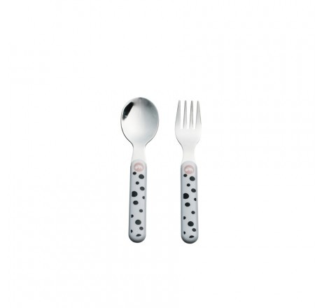 Done by Deer Happy Dots Spoon & Fork Set, powder