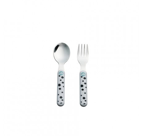 Done by Deer Happy Dots Spoon & Fork Set, blue