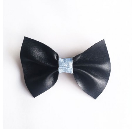 By KD Bowties Black leather with Cool Denim