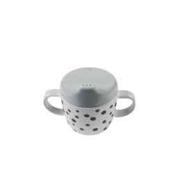 Done by Deer 2-handle spout cup, Happy dots, grey