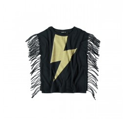 Yporqué Fringed tee Black
