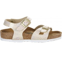 Birkenstock Rio Shiny Snake Cream Narrow BF