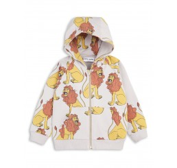 Mini Rodini LION ZIP HOOD Light Grey