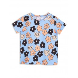 Mini Rodini FLOWERS Short sleeve TEE Light Blue