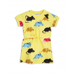 Mini Rodini MR MOUSE SWEAT DRESS Yellow