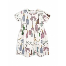 Mini Rodini TASSELS SHORTSLEEVE DRESS off-white