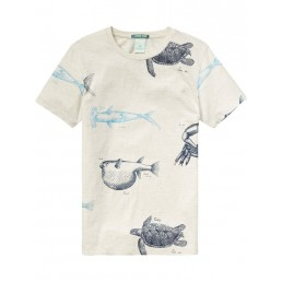 Scotch Shrunk Tee with all-over photoprint Grey
