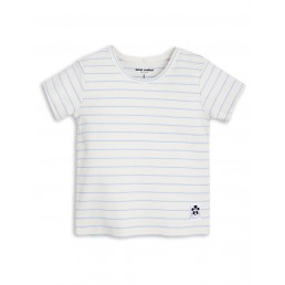 Mini Rodini STRIPE RIB Shortsleeve TEE Light Blue