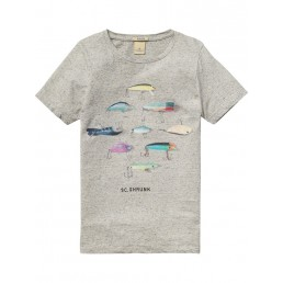 Scotch Shrunk Tee with photoprint artworks Grey