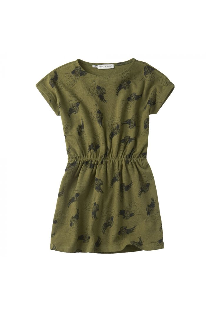 Sproet & Sprout Dress print Cockatoo Tropical green
