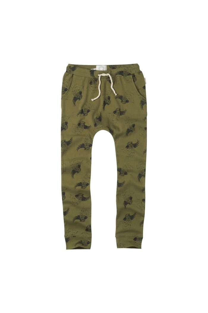 Sproet & Sprout Sweatpants print Cockatoo Tropical green
