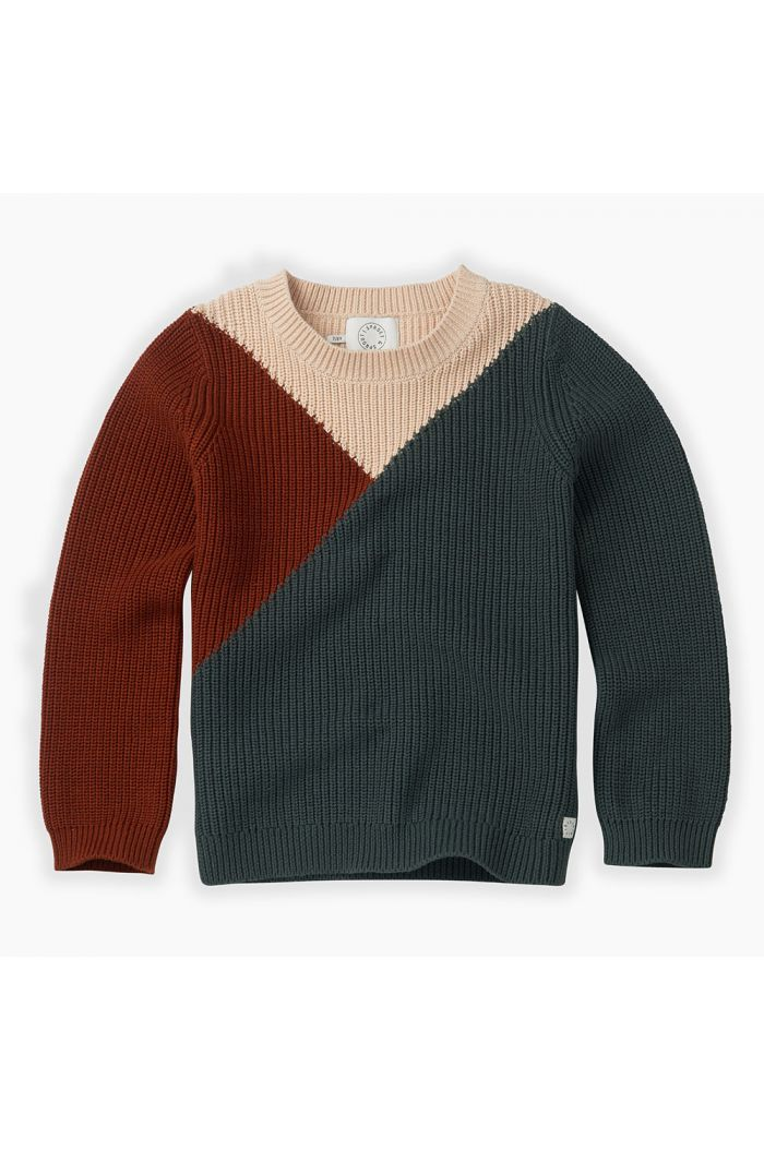 Sproet & Sprout Sweater Colourblock Dusty Green_1