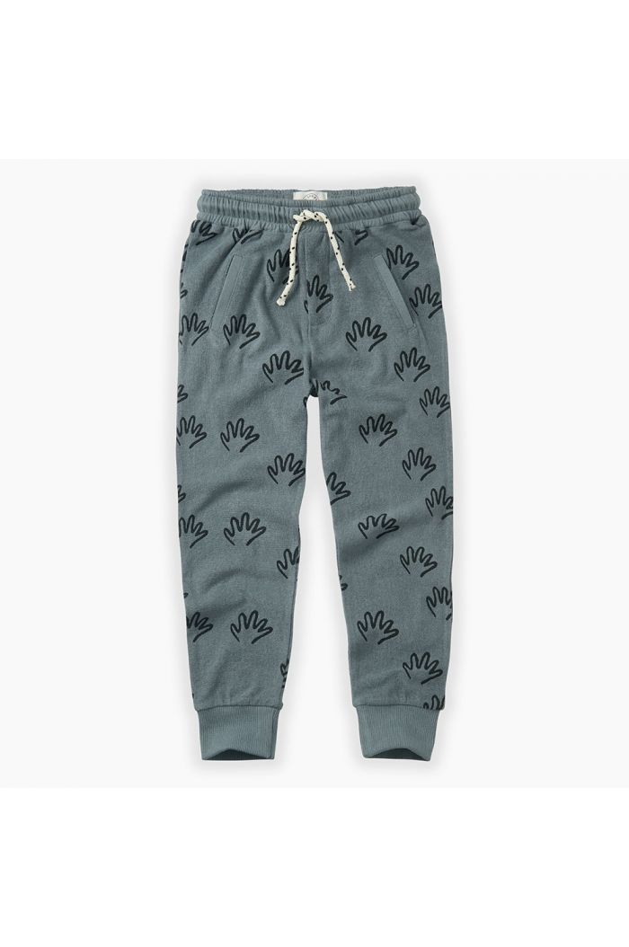 Sproet & Sprout Jog Pants Happy Hands All-over print Stone Blue_1