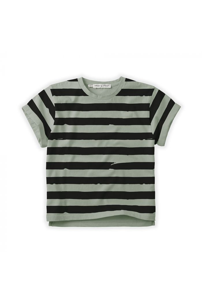 Sproet & Sprout T-shirt Painted Stripe Eucalyptus_1