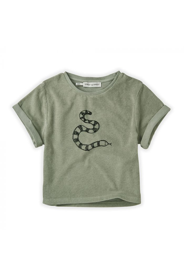 Sproet & Sprout Sweat T-shirt Terry Snake Eucalyptus_1