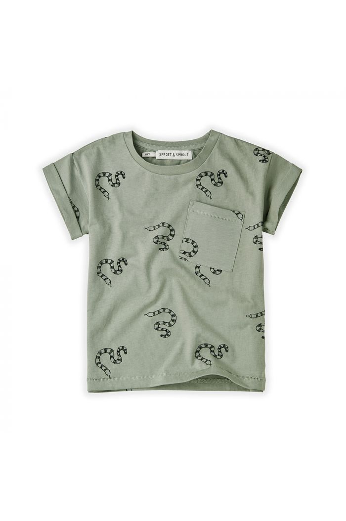 Sproet & Sprout T-shirt Print Snake Eucalyptus_1
