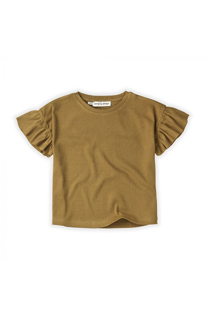 Sproet & Sprout T-Shirt Rib Ruffle Camel Desert_1