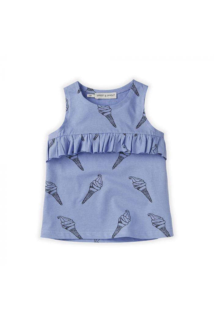 Sproet & Sprout Top Ruffle Print Icecream Bright Blue_1
