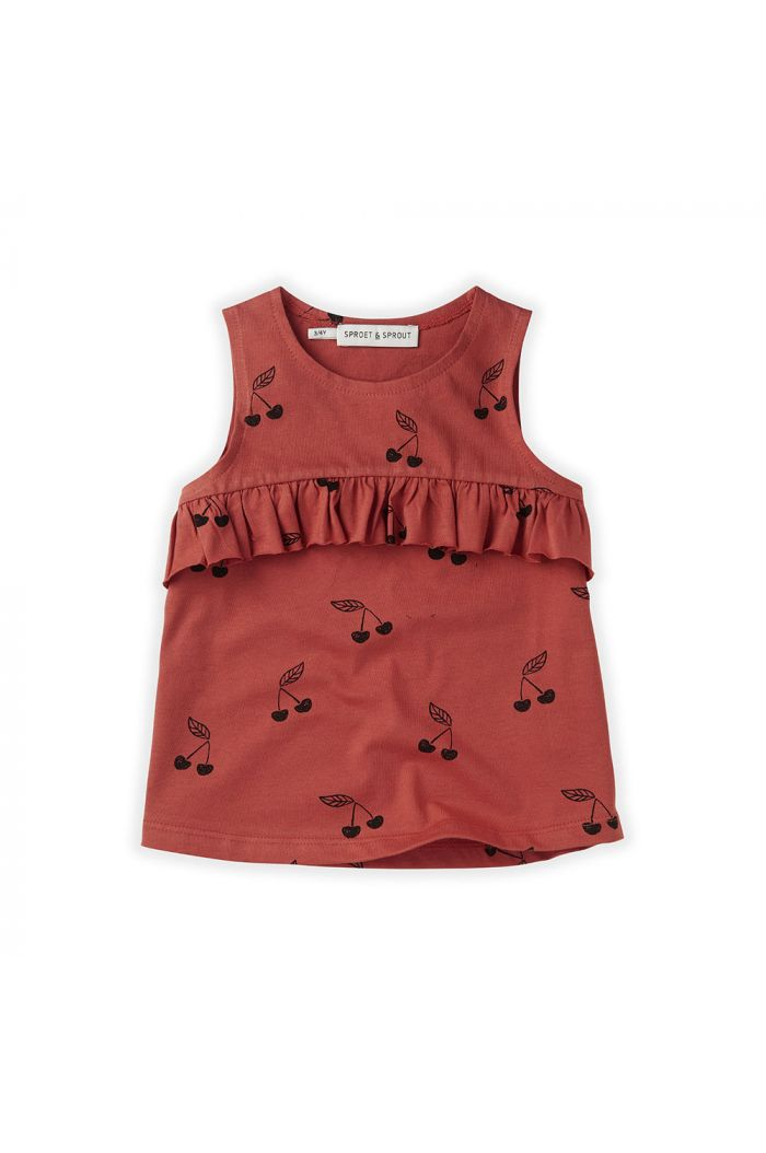 Sproet & Sprout Top Ruffle Print Cherry Cherry Red_1