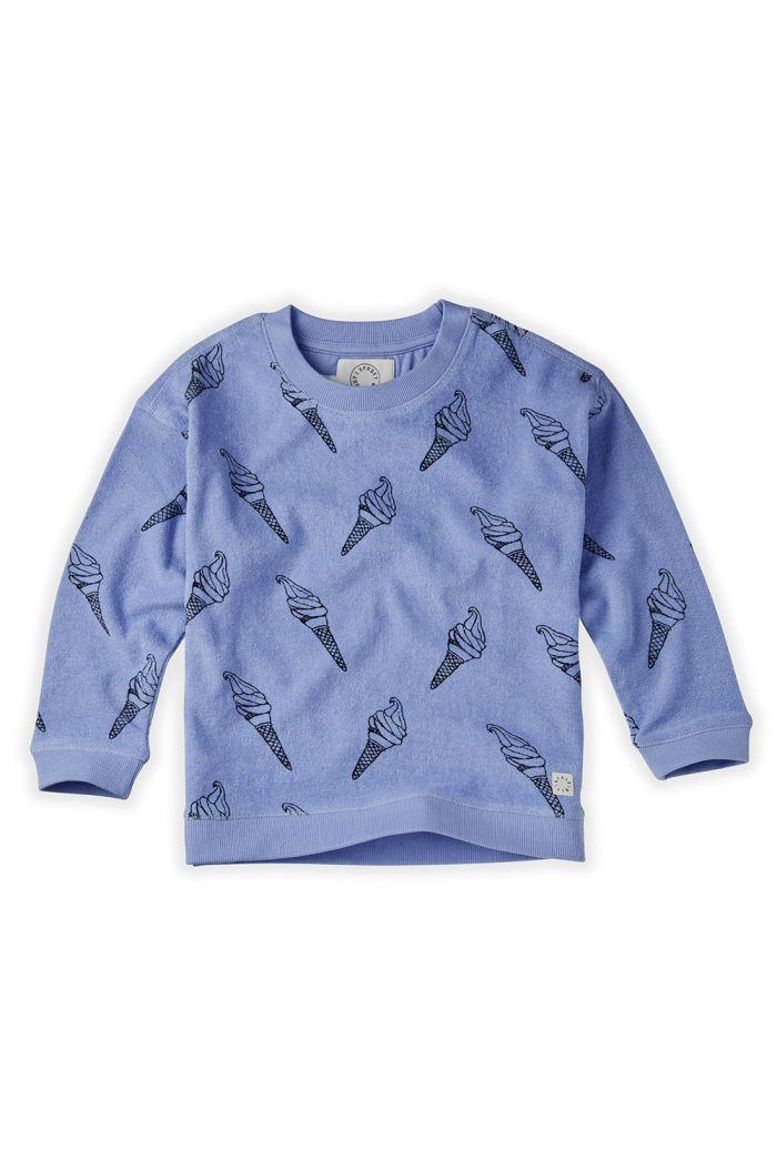 Sproet & Sprout Sweatshirt Terry Print Icecream Bright Blue_1