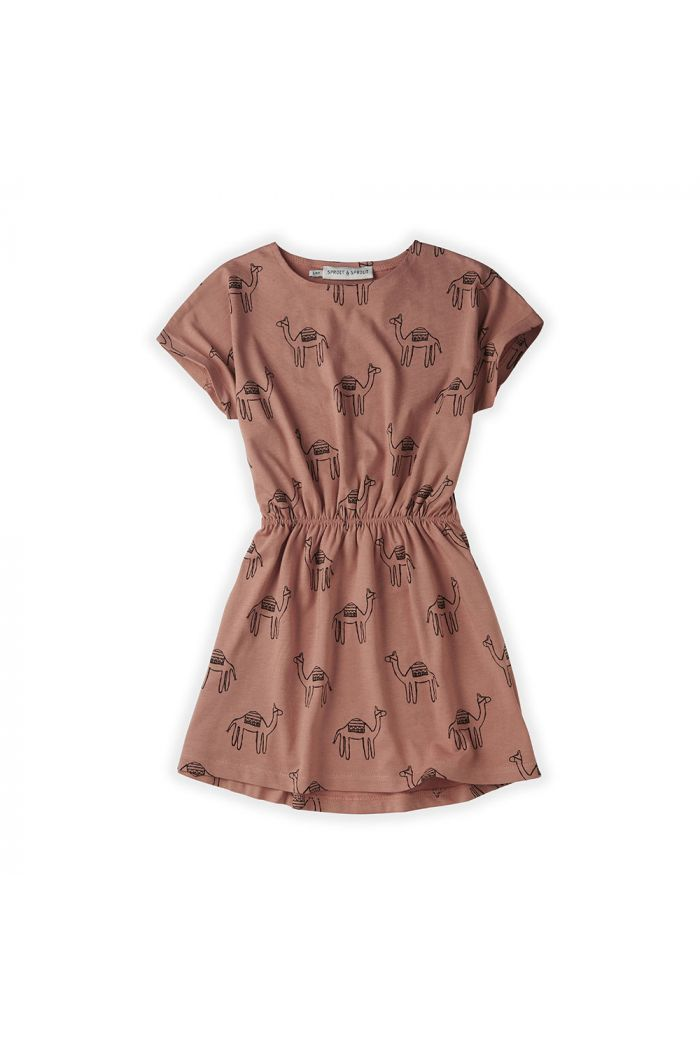 Sproet & Sprout Skater Dress Print Camel Rose_1