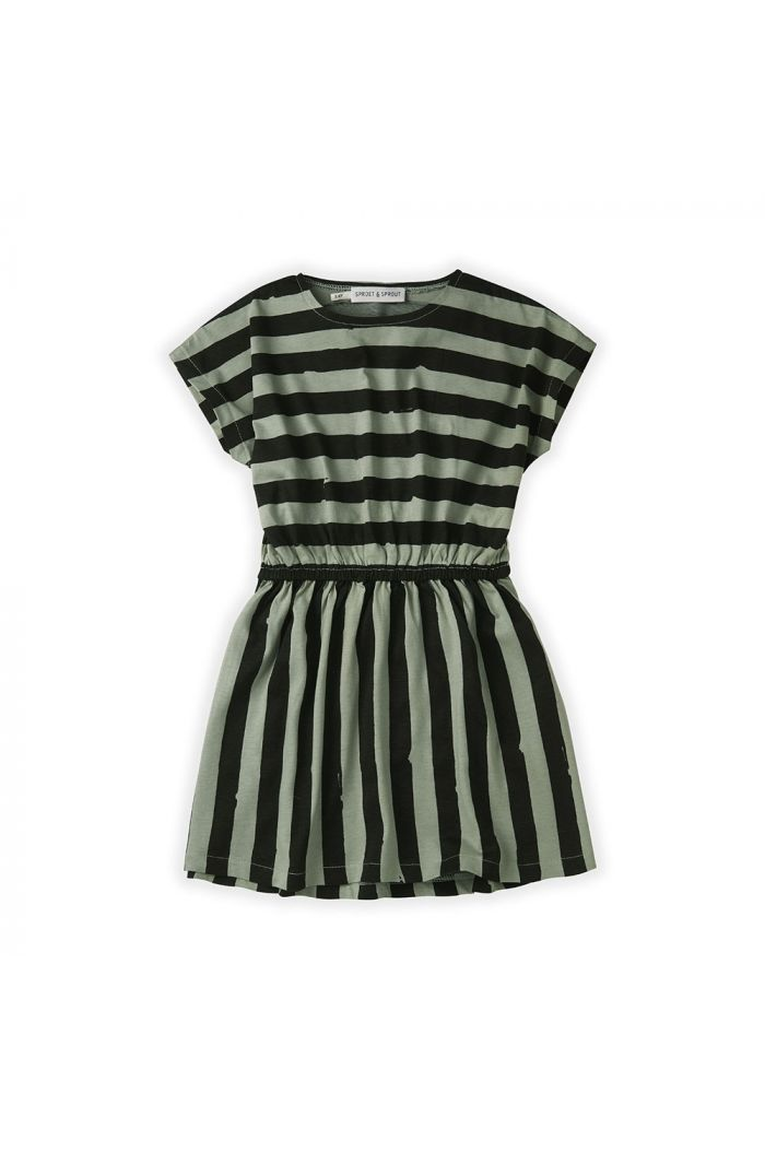 Sproet & Sprout Skater Dress Painted Stripe Eucalyptus_1