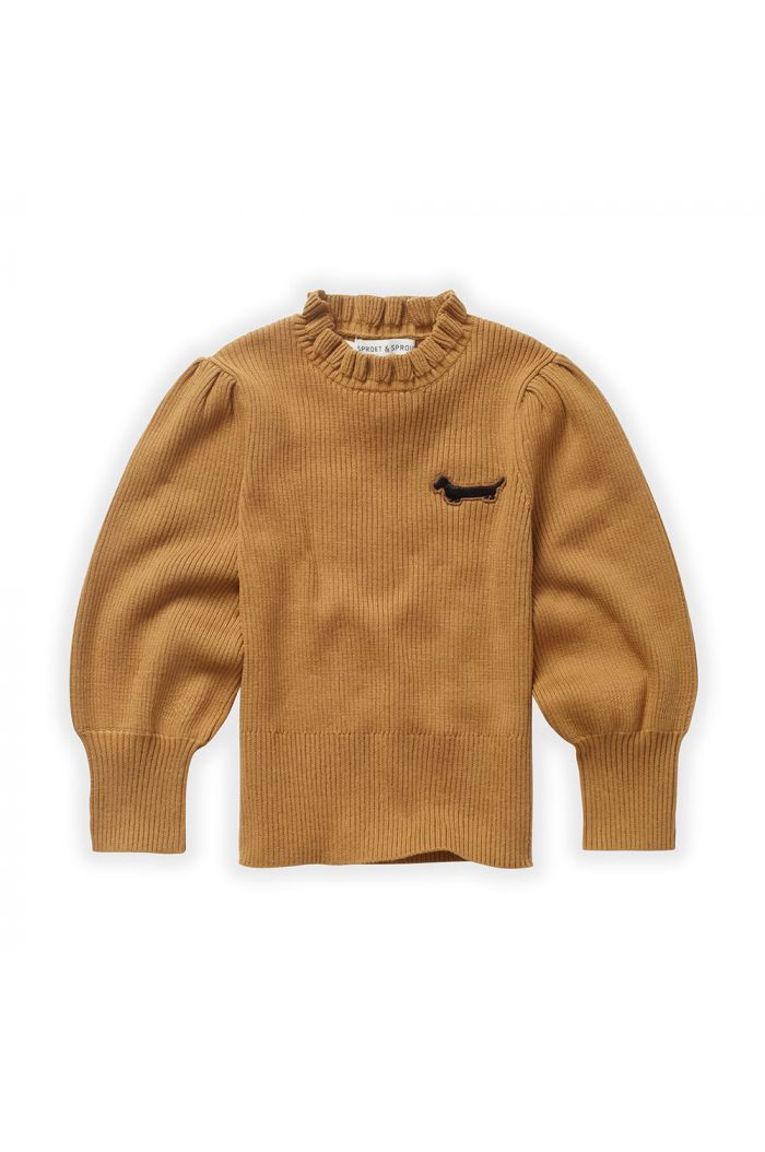 Sproet & Sprout Sweater Turtleneck Ruffle Mustard_1