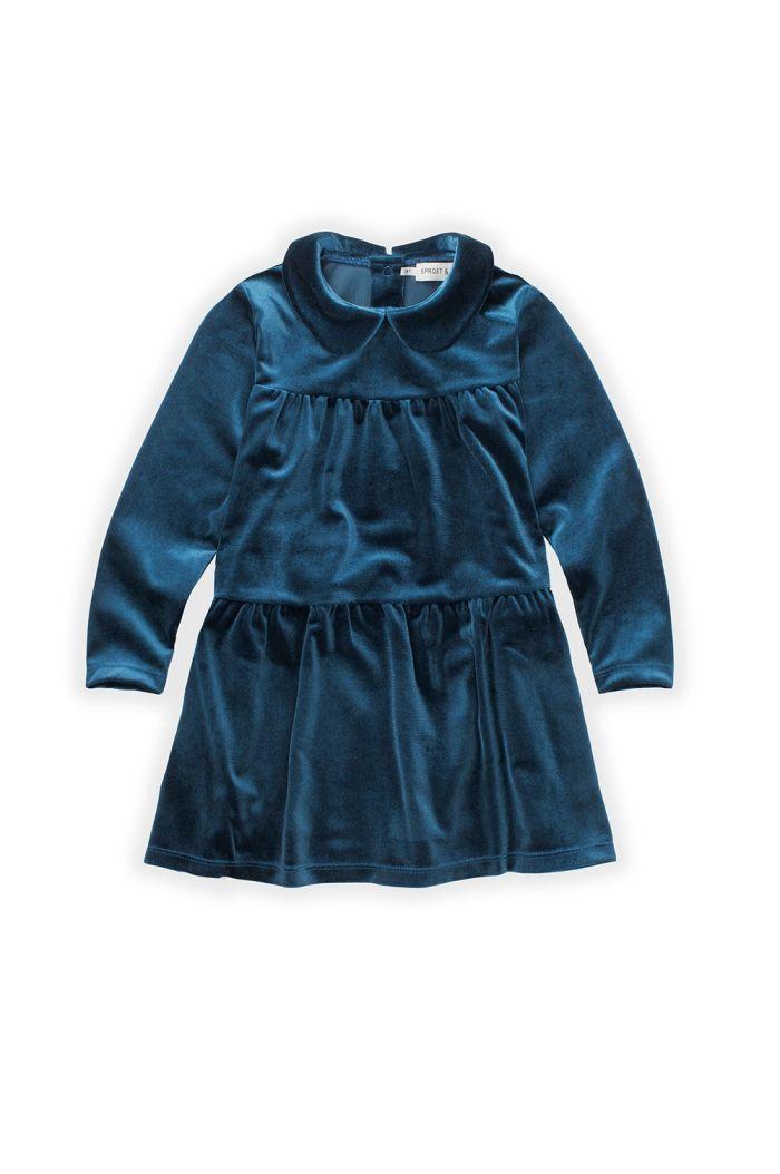 Sproet & Sprout Dress Velvet Lake Blue_1