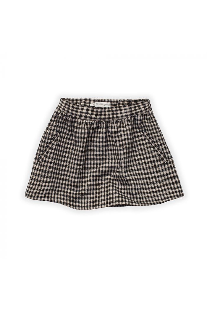 Sproet & Sprout Skirt Block Check Black_1
