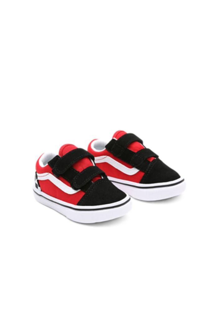 Vans Toddler Comfycush Old Skool V (Checkerboard) Black/Red_1