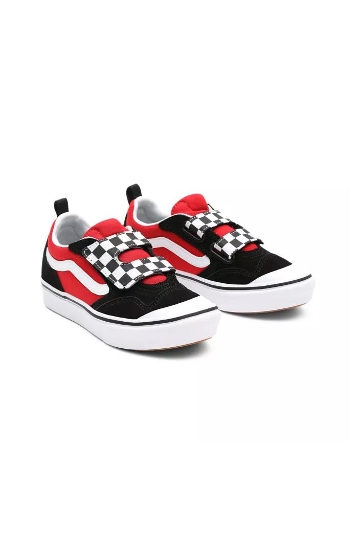 Vans Youth Comfycush New Skool V (Checkerboard) Black/Red_1