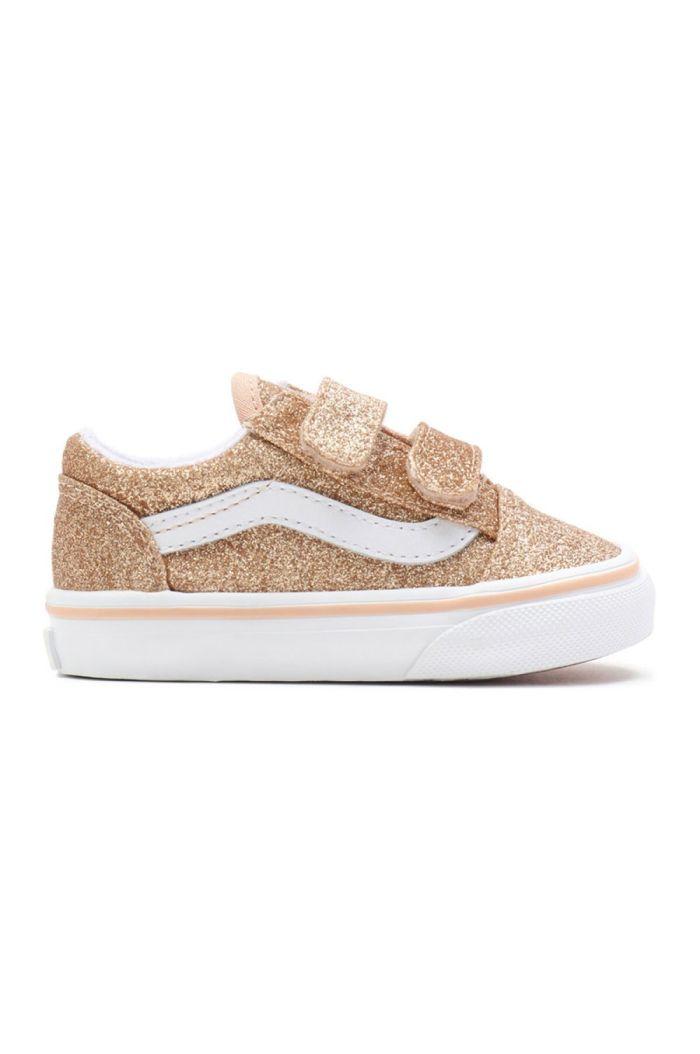Vans Toddler Old Skool V (Glitter) Amberlight/True White_1