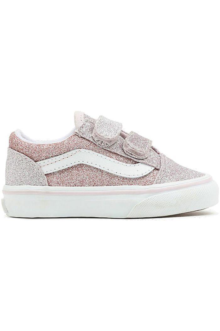 Vans Toddler Old Skool V (2 Tone Glitter) Orchdid/Powder Pink_1