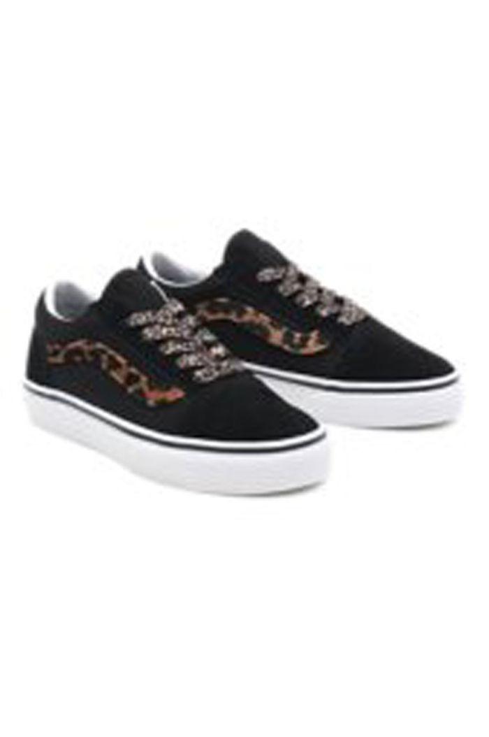 Vans Youth Old Skool (Leopard Fur) Black/True White_1