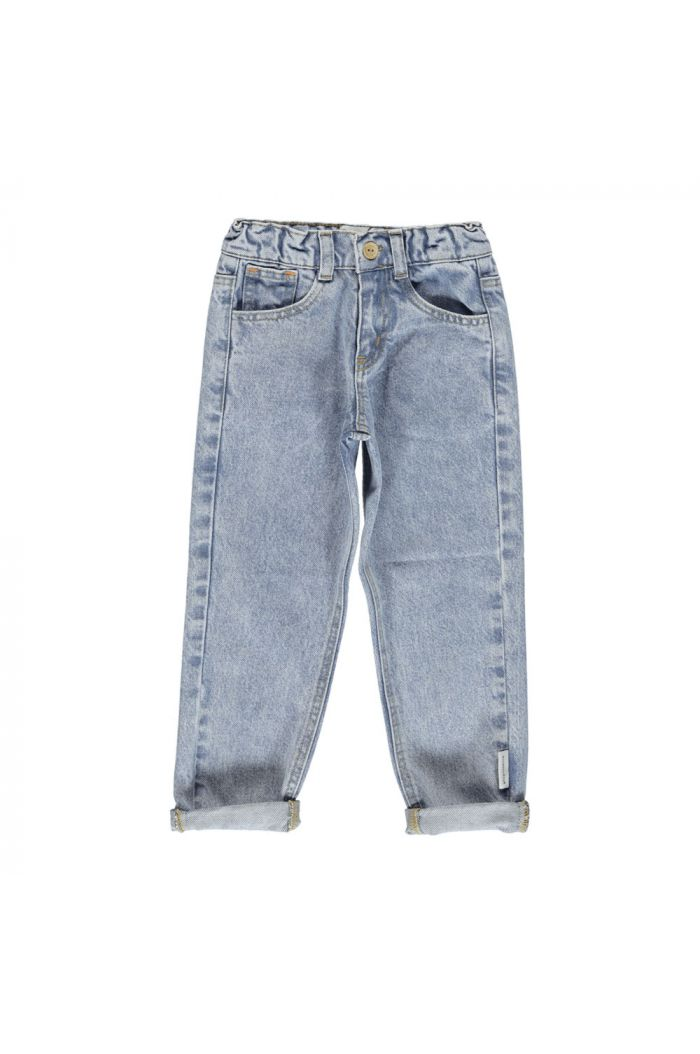 Piupiuchick Mom fit trousers jeans washed light blue denim_1