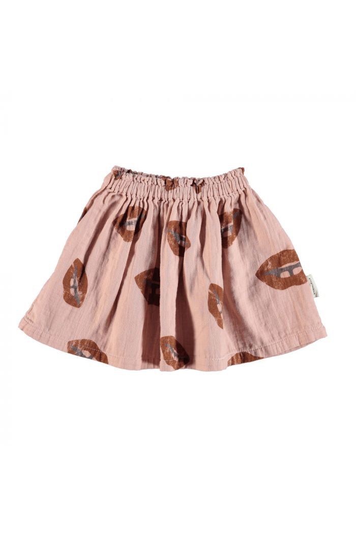 Piupiuchick Short skirt pale pink with lips allover_1