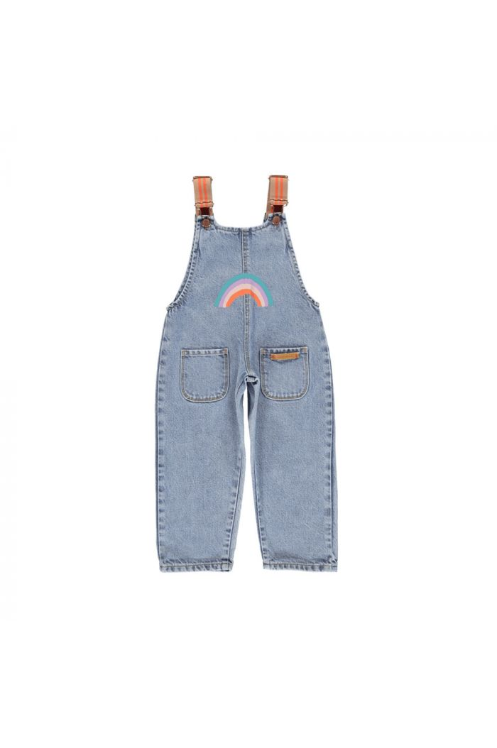 Piupiuchick Dungarees light blue denim jeans with rainbow print_1