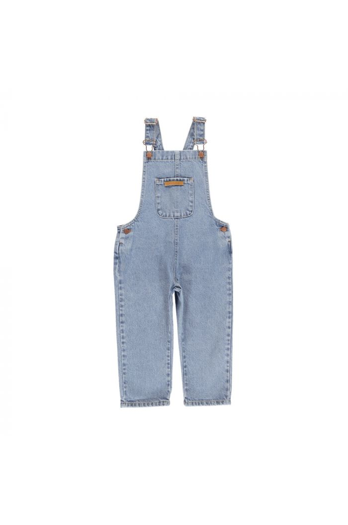 Piupiuchick Dungarees With Logo Pocket washed light blue denim_1