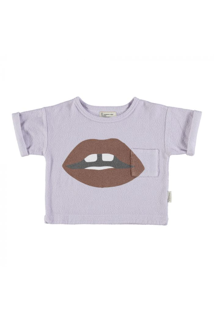 "Piupiuchick Terry T-shirt lavender with ""lips"" print_1"