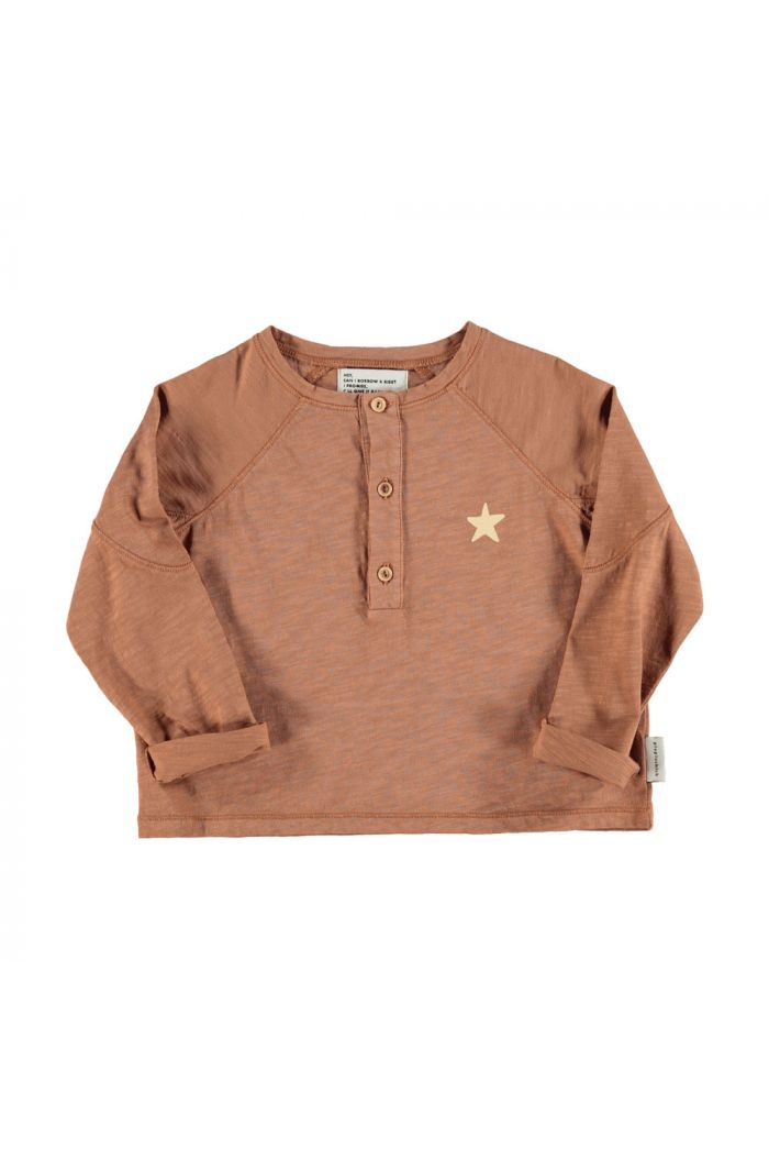 Piupiuchick Buttoned logo longsleeve pecan nut with logo_1