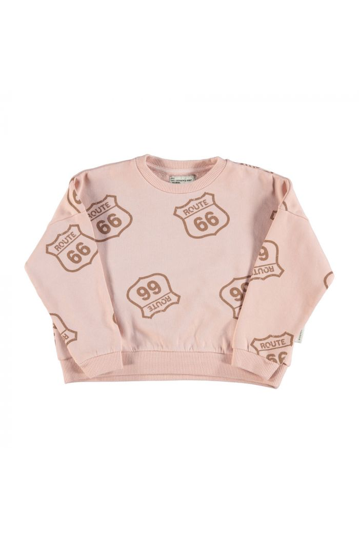 Piupiuchick Unisex sweatshirt pale pink with route 66 allover print_1