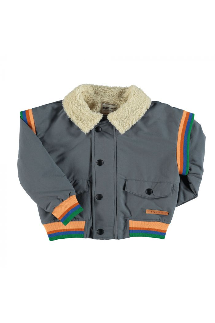 Piupiuchick Waterproof unisex jacket grey with multicolor rib_1