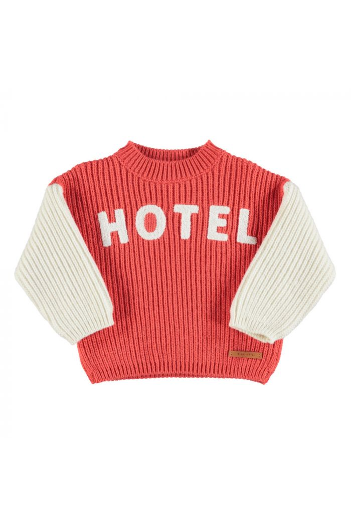 Piupiuchick Knitted sweater orange & ecru with Hotel embroidery_1