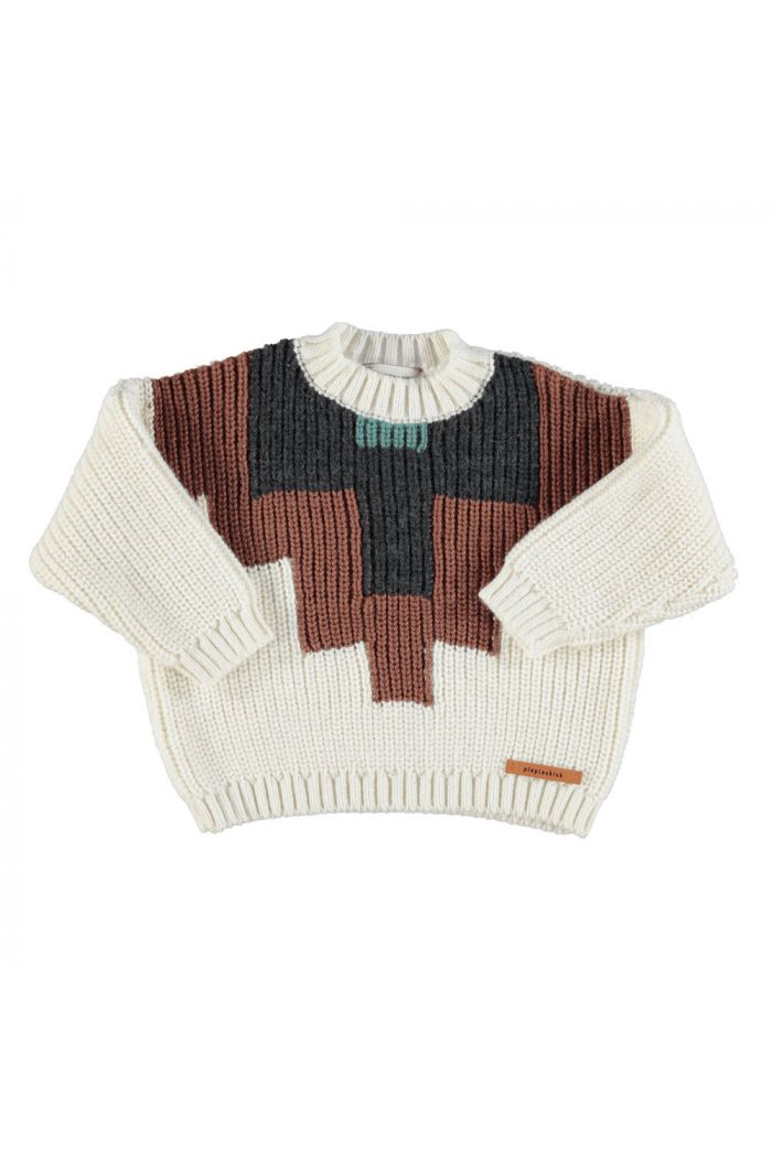Piupiuchick Knitted sweater ecru with multicolor pattern_1