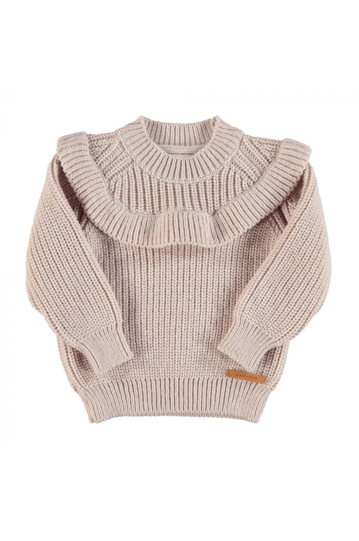 Piupiuchick Knitted sweater with frills on chest pale pink_1