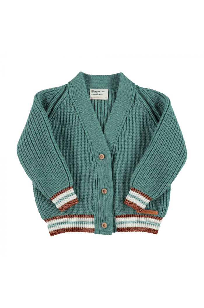 Piupiuchick Knitted v-neck jacket emerald with multicolor lurex striped rib _1
