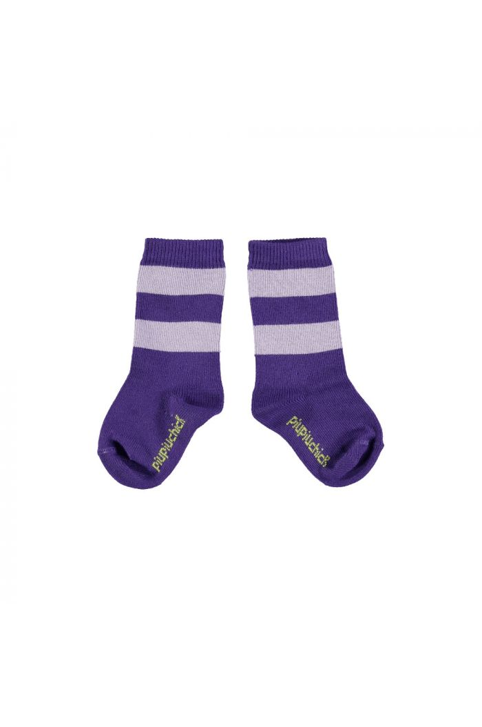 Piupiuchick Socks purple with lavender stripes_1