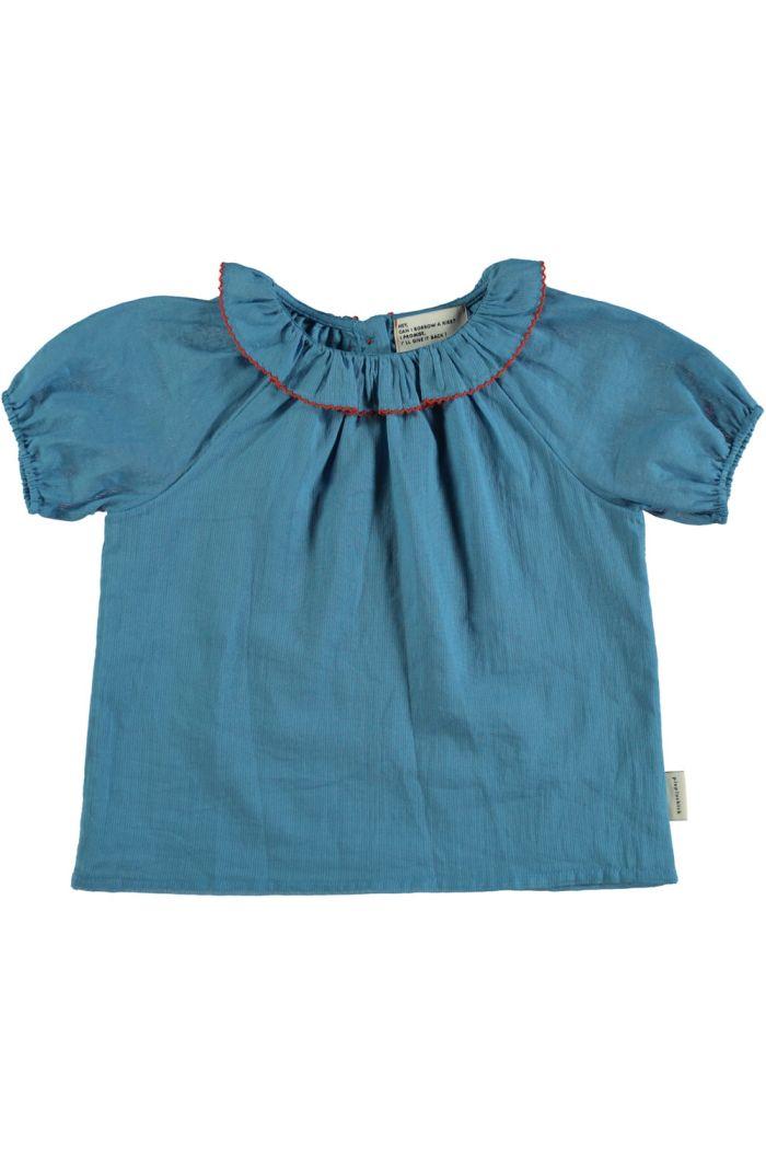Piupiuchick Shirt With Round Fringe Collar Deep Blue_1