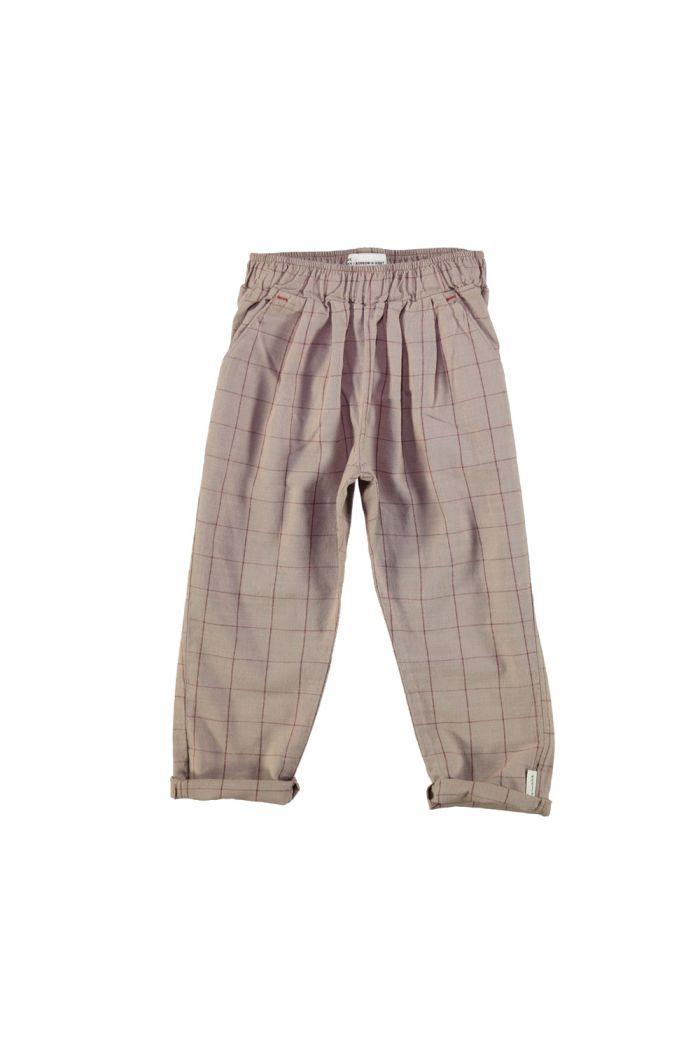 Piupiuchick Unisex Trousers Taupe & Garnet Checkered _1