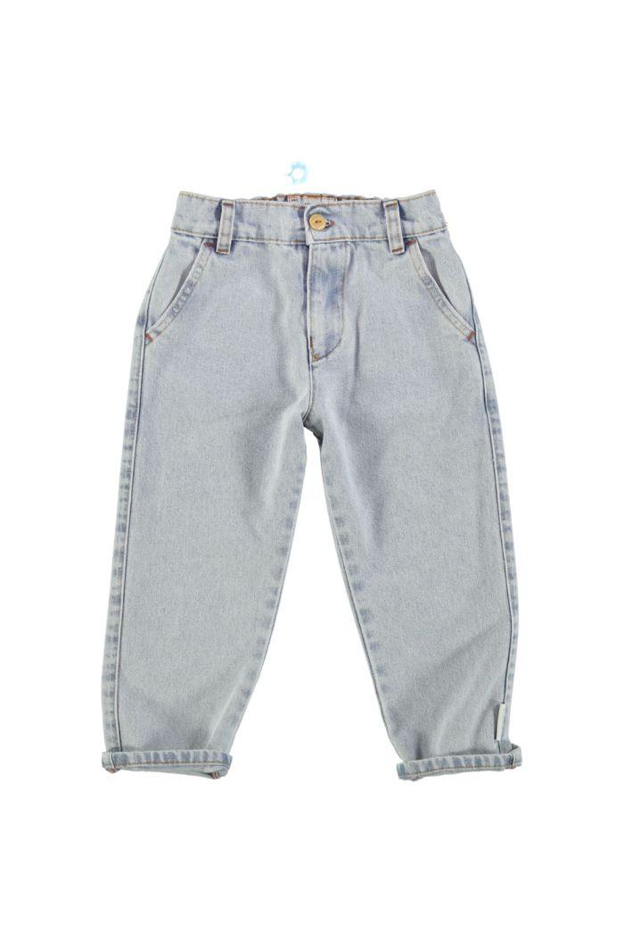 Piupiuchick Unisex Trousers Light Blue Washed Denim _1